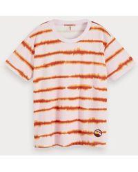 Scotch & Soda Tie-dye Gestreept T-shirt - Meerkleurig