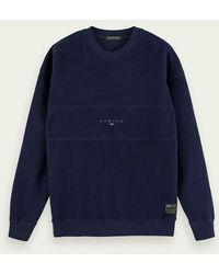 Scotch & Soda Sweater Met Lange Mouwen Van Een Geborstelde Katoenmix - Blauw