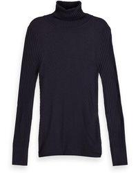 Scotch & Soda Wool-blend Rib Knitted Turtleneck - Black
