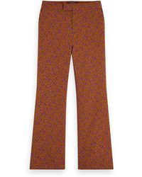 Scotch & Soda Floral Print Wide Leg Stretch Trousers - Brown