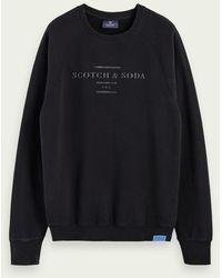 Scotch & Soda Sweat-shirt à manches longues, col ras-du-cou et logo - Noir