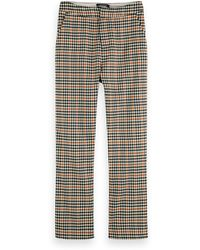 Scotch & Soda High Waist Houndstooth Checked Straight Leg Trousers - Natural