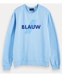 Scotch & Soda 100% Katoenen Sweater Met Blauw-logo En Ronde Hals