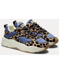Scotch & Soda Celest - Vetersneakers Van Mesh En Leer - Blauw