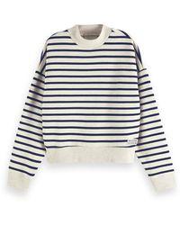 Scotch & Soda Oversized Breton Stripe Sweatshirt - Grey