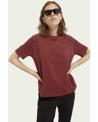 Scotch & Soda Loose Fit Metallic T-shirt - Red
