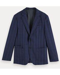 Scotch & Soda Single-breasted Gestructureerde Blazer - Blauw