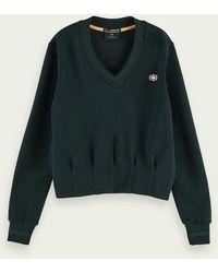 Scotch & Soda Sweater Met V-hals En Geaccentueerde Taille - Groen