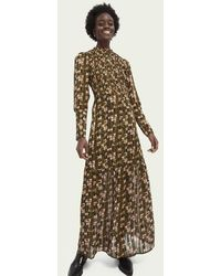 Scotch & Soda Transparante Maxi-jurk Met Print - Groen