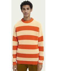Scotch & Soda Ribgebreide Sweater Met Blokstrepen - Oranje