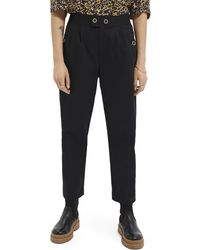 Scotch & Soda Tapered-fit Organic Cotton Trousers - Black