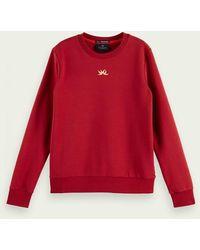 Scotch & Soda Sweater Met Lange Mouwen Van Een Katoenmix - Rood