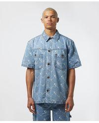 Karlkani All Over Print Short Sleeve Denim Shirt - Blue