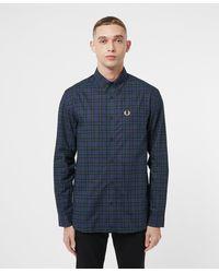 Fred Perry Winter Tartan Long Sleeve Shirt - Blue