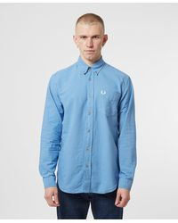 Fred Perry Overdyed Long Sleeve Shirt - Blue