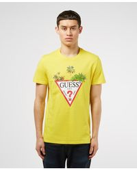 Guess Palm Triangle Short Sleeve T-shirt - Yellow