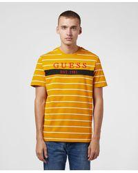 Guess Large Logo Short Sleeve Stripe T-shirt - Yellow
