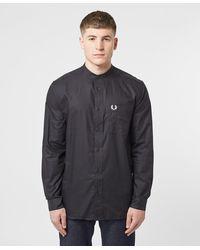 Fred Perry Grandad Collar Long Sleeve Shirt - Black