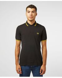 Fred Perry Slim Twin Tipped Short Sleeve Polo Shirt - Black