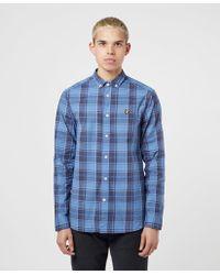 Lyle & Scott Poplin Check Long Sleeve Shirt - Blue