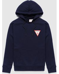 Guess Chest Logo Hoodie - Blue