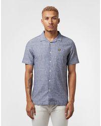 Lyle & Scott Cuban Collar Short Sleeve Shirt - Blue