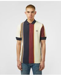 Fred Perry Vertical Stripe Short Sleeve Polo Shirt - Blue