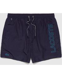 Lacoste Side Logo Swim Shorts - Blue