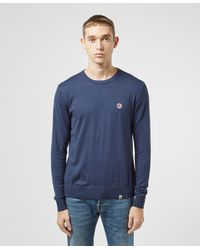 Pretty Green Hinch Crew Knitted Sweater - Blue