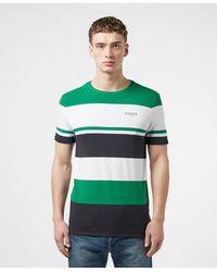 Guess Colour Block Stripe Short Sleeve T-shirt - Green