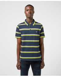 Guess Neon Stripe Short Sleeve Polo Shirt - Blue