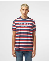 Guess Horizontal Stripe Short Sleeve T-shirt - Blue