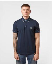 Pretty Green Check Trim Short Sleeve Polo Shirt - Blue