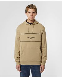 Fred Perry Embroidered Overhead Hoodie - Brown