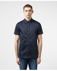 Armani Exchange Circle Logo Short Sleeve Shirt Navy Blue