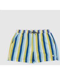 Guess Woven Stripe Swim Shorts - Yellow
