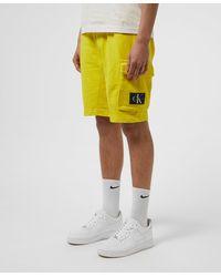 Calvin Klein Monogram Badge Fleece Shorts - Yellow
