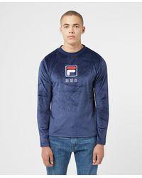 Fila Dalbert Velour Long Sleeve T-shirt - Blue