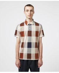 Aquascutum Cody Oversize Check Short Sleeve Polo Shirt - Brown