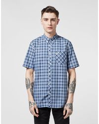 Fred Perry Gingham Short Sleeve Shirt Navy Blue
