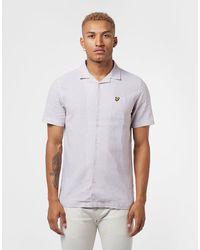 Lyle & Scott Cuban Collar Short Sleeve Shirt - Purple