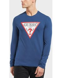 Guess - Triangle Logo Long Sleeve T-shirt - Exclusive - Lyst