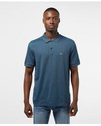 Lacoste Finestripe Short Sleeve Polo Shirt - Blue