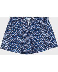 Guess Logo Print Swim Shorts - Blue