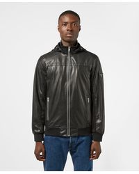 Guess Sporty Faux Leather Hooded Bomber Jacket - Black