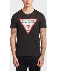 Guess - Triangle Logo Short Sleeve T-shirt - Lyst