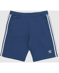 adidas Originals 3 Stripe Fleece Shorts - Blue