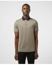 Armani Exchange Block Hem Short Sleeve Polo Shirt - Gray