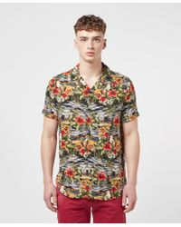 Guess Hawaii Print Short Sleeve Shirt - Multicolor