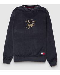 Tommy Hilfiger Velour Crew Sweatshirt - Blue